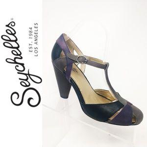 SEYCHELLES Anthropologie Grey Purple Black Pumps 9